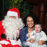 Laker family poses with Santa